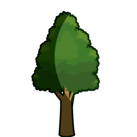 tree foliage rough bark stem shadow vector illustration