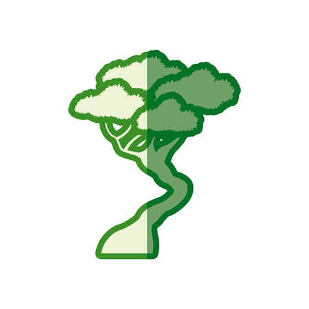 green tree bonsai decorative silhouette vector illustration