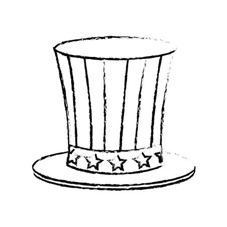 top hat flag usa celebration party image sketch vector illustration Illustration