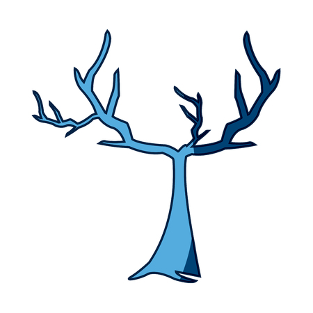 Blue Tree Withered Branching Free Spirit Rustic Vector Illustration
