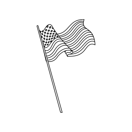 united states of america flag waving national line vector illustration Illustration