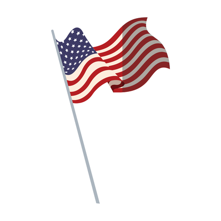 United states of america flag with pole vector illustration Illustration