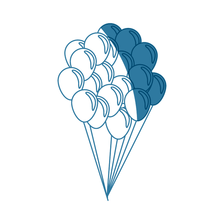 air: Balloons flying decoration national party shadow vector illustration