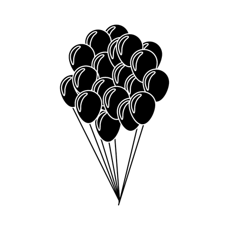 animal silhouette: balloons flying decoration national party silhouette vector illustration
