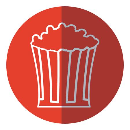 holiday blockbuster: pop corn food celebration party patrotic red circle vector illustration