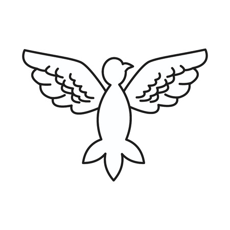 animal silhouette: Dove peace flying wings symbol design vector illustration