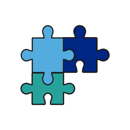 Puzzle jigsaw piece business team vector illustration