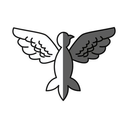 bird pigeon freedom peace wings open shadow vector illustration Illustration