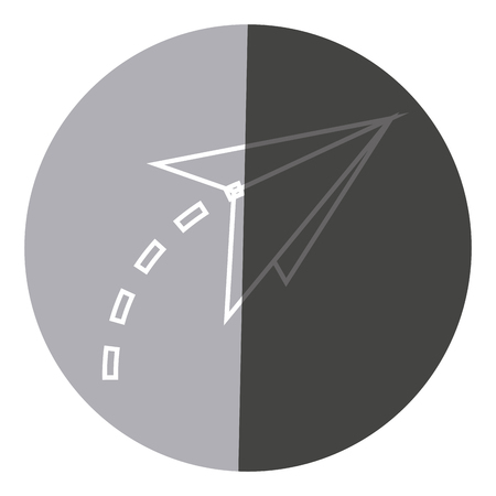 air: Paper airplane origami creativity symbolic icon circle vector illustration.