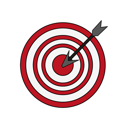colorful graphic arrow hitting a target vector illustration