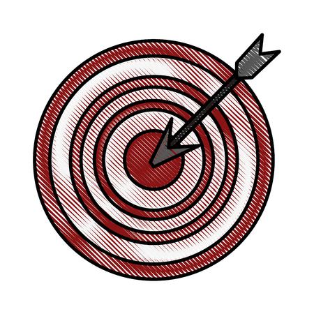 Farbe verwischte den Streifenpfeil, der eine Zielvektorillustration schlägt