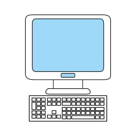 computer education: sketch color silhouette computer desk with keyboard vector illustration