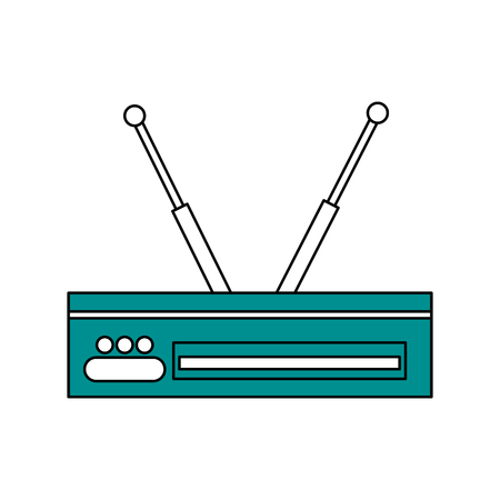 Sketch color silhouette decoder antenna tv vector illustration.