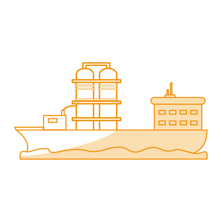 Orange silhouette shading boat cargo with platform with tanks vector illustration.