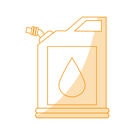 natural gas production: Orange silhouette shading fuel container with petroleum drop symbol vector illustration.