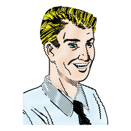 drawing pop art man wearing shirt and tie vector illustration Illustration