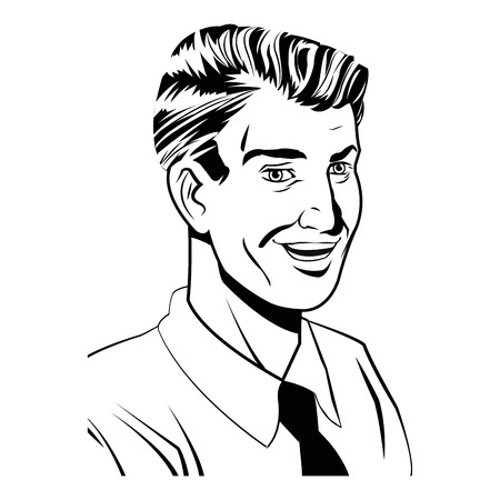 shirt tie: Pop art man laughing wearing shirt and tie black and  vector illustration