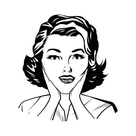 portrait woman pop art surprised expression black and vector illustration