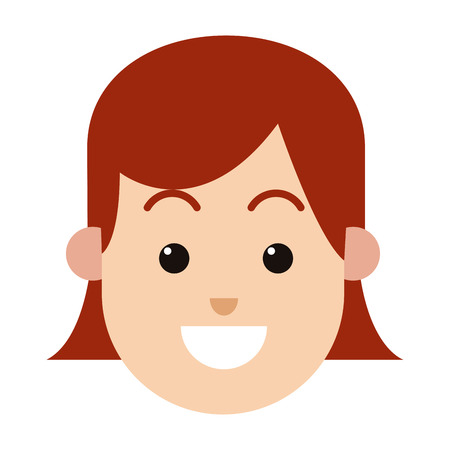 character woman female hairred smiling image vector illustration