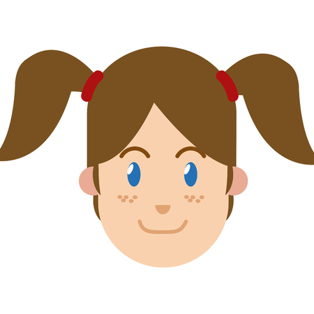 character woman female ponytails blue eyes and freckles vector illustration Illustration