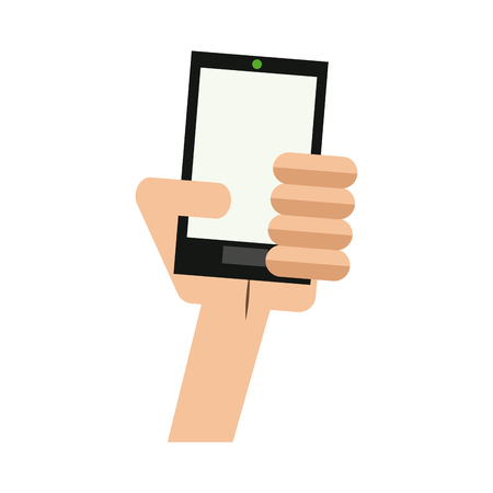 hand holding smartphone technology device vector illustration