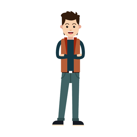 character young man male cross arm casual vector illustration
