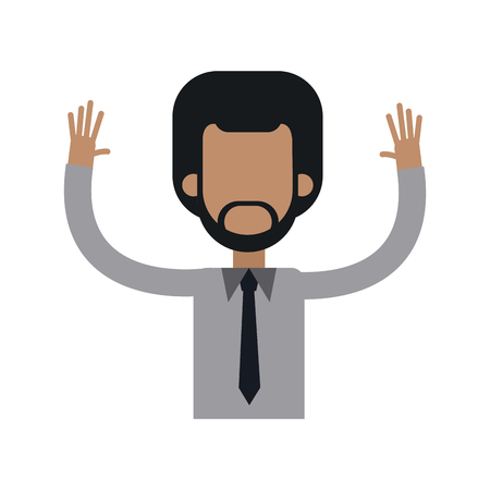 character african man male tie hands up vector illustration Ilustração