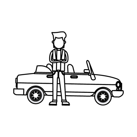 character young man sport car standing outline vector illustration
