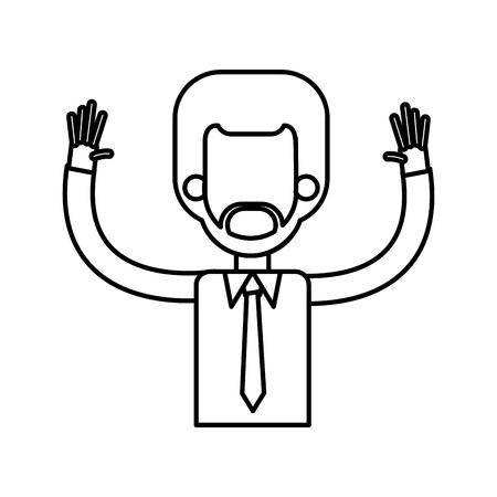 Outlined male hands up tie shirt vector illustration. Illustration