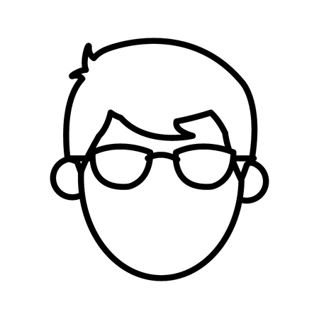 Outlined head male faceless image vector illustration.