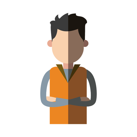arms folded: Man wear vest crossed arms clothes casual vector illustration.
