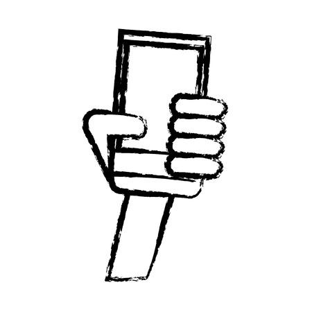 hand holding smartphone communication sketch vector illustration