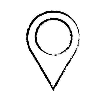 Delineato mappa del puntatore navigazione immagine vettoriale illustrazione schizzo Archivio Fotografico - 77100676