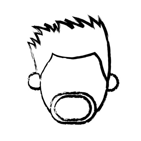 burly: faceless head man mustache beard people sketch vector illustration Illustration