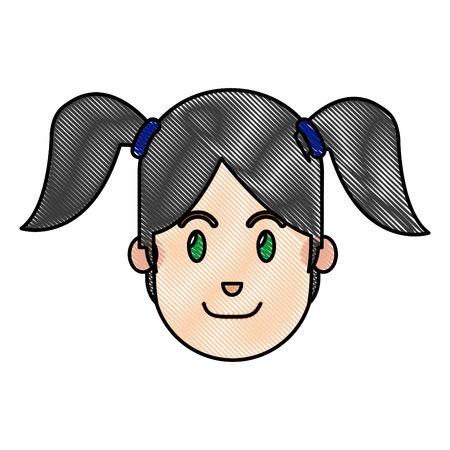 Drawing face girl happy expression with ponytails vector illustration
