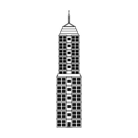 city: building urban windows facade image outline vector illustration Illustration