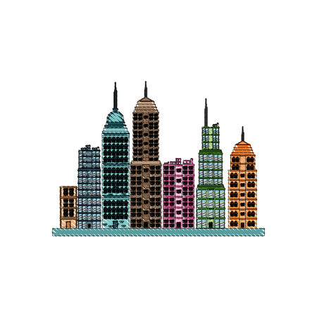 drawing building towers high town image vector illustration