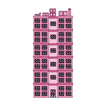 city: drawing building residential apartment structure image vector illustration Illustration