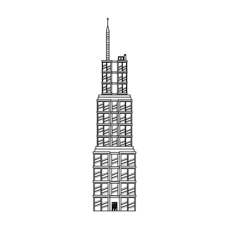 penthouse: building skyscraper commercial antenna image outline vector illustration