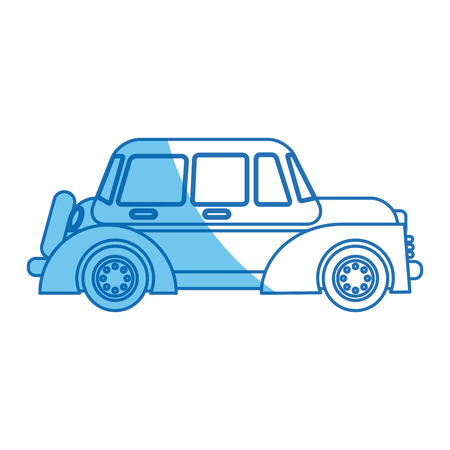 car windows wheel transport blue line vector illustration