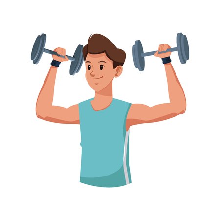 Fitness man weight lifting workout vector illustration
