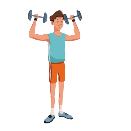 gym equipment: Character man lifting heavy barbell vector illustration