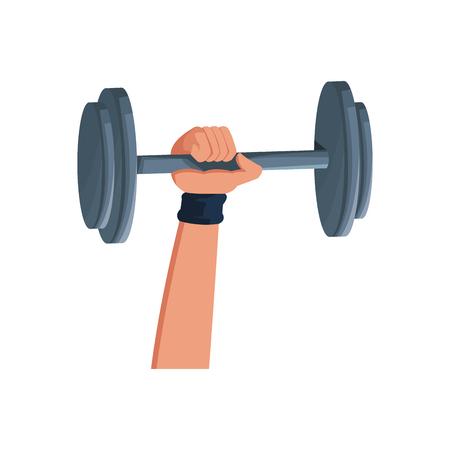 Hand holding barbell sport icon vector illustration Illustration
