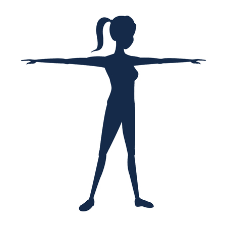 outstretched: silhouette sport girl fitness with open arms vector illustration