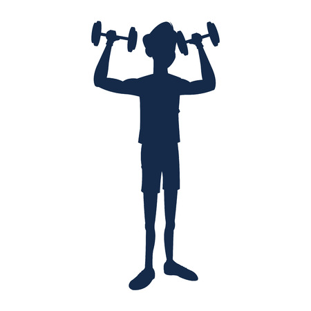 gym equipment: silhouette fitness man weight lifting workout vector illustration Illustration