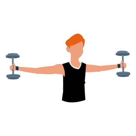 fitness man dumbbell workout hard vector illustration