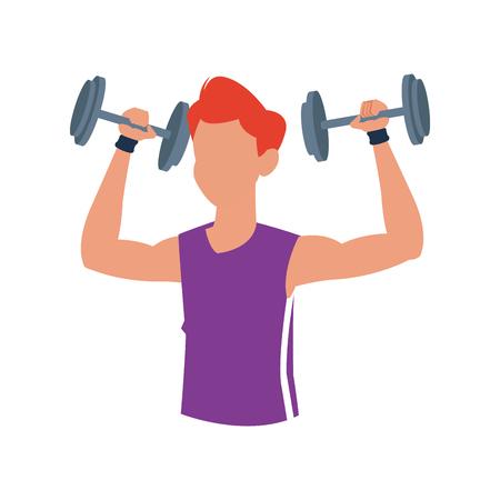 fitness man dumbbell body gym vector illustration