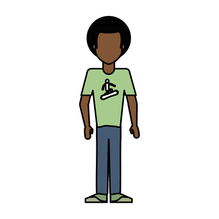 Colorful caricature image faceless brunette man with afro hair vector illustration