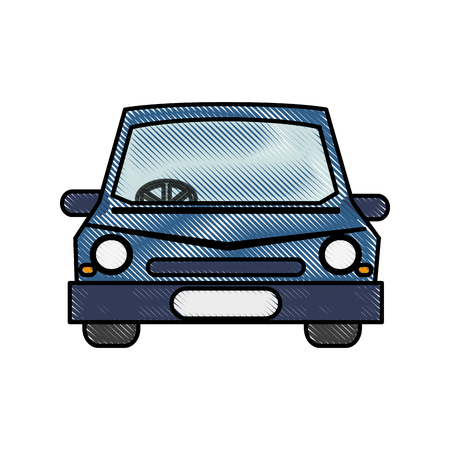 color blurred stripe caricature image front view car vector illustration Illustration