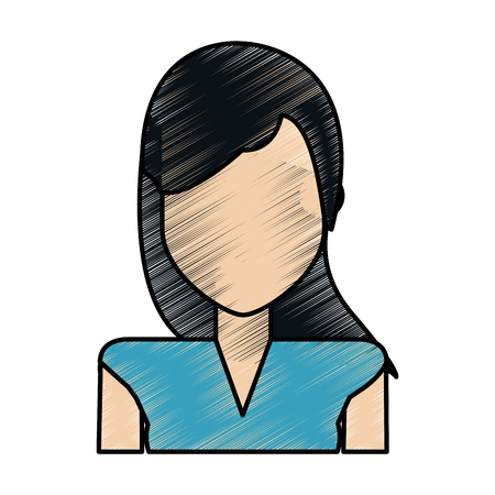 color pencil image caricature faceless half body woman with straight hair vector illustration